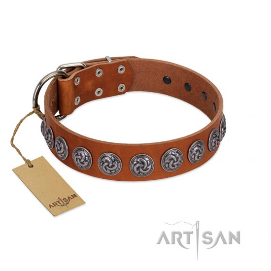 """Velvet Kiss"" Handmade FDT Artisan Tan Leather Boxer Collar with Vintage Medallions"
