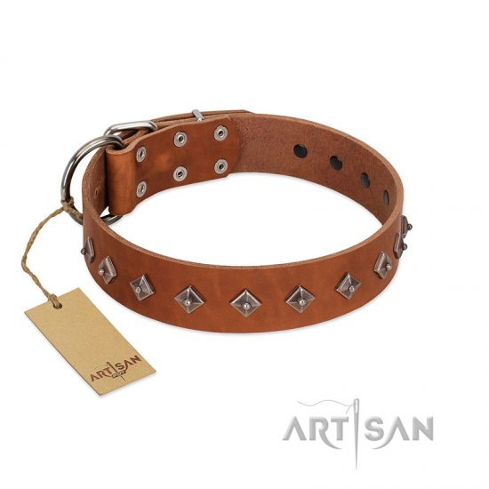 """Broadway"" Handmade FDT Artisan Tan Leather Boxer Collar with Dotted Pyramids"