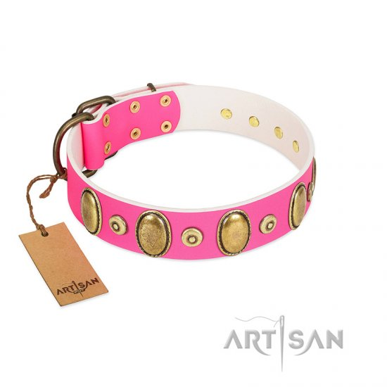 """Drawing Power"" FDT Artisan Pink Leather Boxer Collar with Engraved Ovals and Dotted Studs"