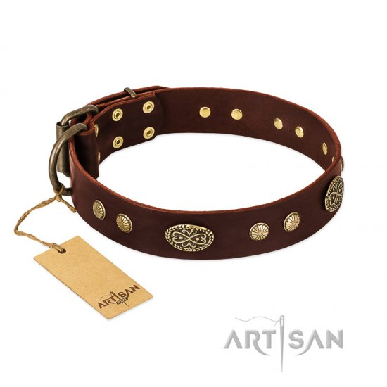 """Old-fashioned Glamor"" FDT Artisan Brown Leather Boxer Collar with Old Bronze Look Plates and Circles"