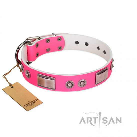 """Lady's Whim"" FDT Artisan Pink Leather Boxer Collar with Plates and Spiked Studs"