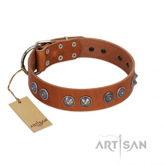 """Silver Necklace"" Incredible FDT Artisan Tan Leather Boxer Colar with Silver-Like Adornments"