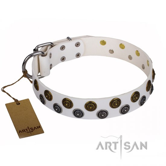"""Snowflake"" FDT Artisan White Leather Boxer Collar with Exclusive Design"