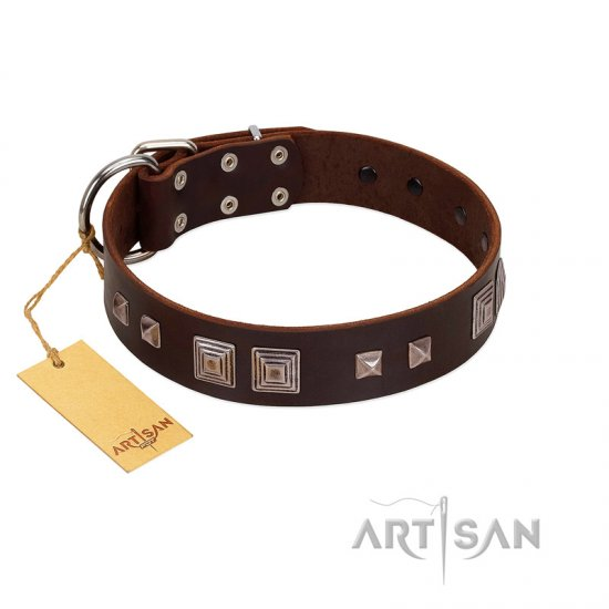 """Object of Virtu"" FDT Artisan Brown Leather Boxer Collar with Old Silver-like Square Studs and Pyramids"