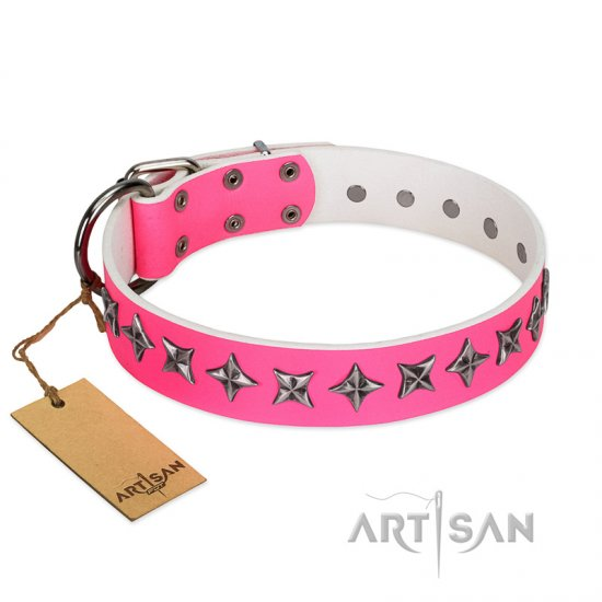 """Star Dreams"" FDT Artisan Pink Leather Boxer Collar with Silver-like Stars"