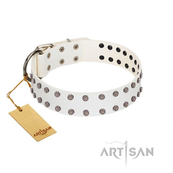 """White Night"" FDT Artisan White Leather Boxer Collar with Vinatge Silver-like Studs"