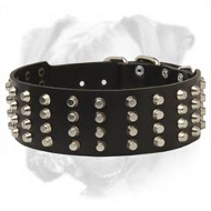 Super Durable Leather Boxer Collar with Pyramids
