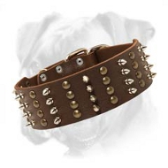 Exclusive Extra Wide Leather Boxer Collar with 4 Rows of Spikes and Studs
