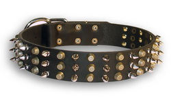 Leather Boxer Collar with 3 Rows of Spikes and Pyramids
