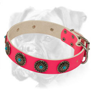Boxer Pink Leather Collar with Brass Circles and Blue Stones
