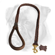 Elegant Braided Leather Boxer Leash for Walking and Training
