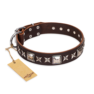 """Perfect Impression"" FDT Artisan Brown Leather Boxer Collar with Silver-Like Studs - 1 1/2 inch (40 mm) Wide"