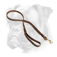 Braided Leather Boxer Leash with Additional Handle