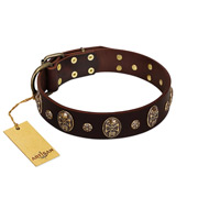 """Breaking the Horizon"" FDT Artisan Brown Leather Boxer Collar with Engraved Studs and Medallions"