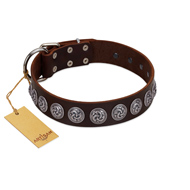 """Charming Circles"" FDT Artisan Brown Leather Boxer Collar with Silver-like Studs"