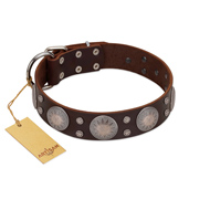 """Imperial Legate"" FDT Artisan Brown Leather Boxer Collar with Big Round Plates"