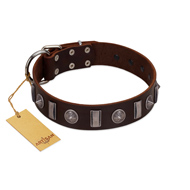 """Spiky Way"" FDT Artisan Brown Leather Boxer Collar with Silver-Like Decorations"