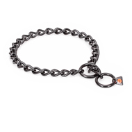 """Fur Protector"" Black Stainless Steel Boxer Choke Collar - 1/6 inch (4 mm) wire diameter"
