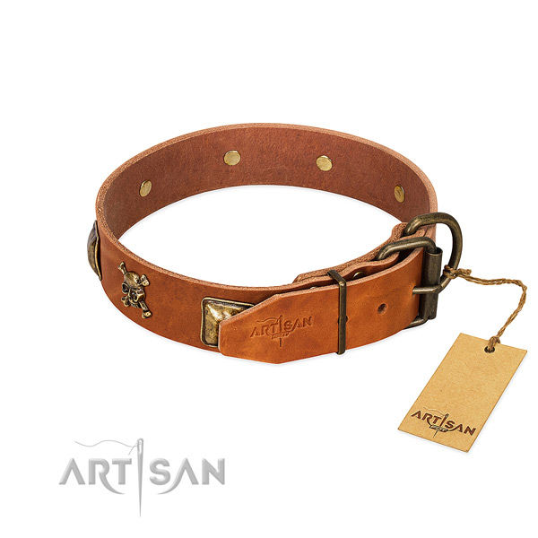 Impressive full grain genuine leather dog collar with durable decorations