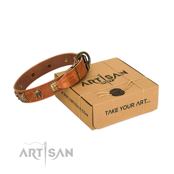 Unique full grain genuine leather dog collar with durable decorations