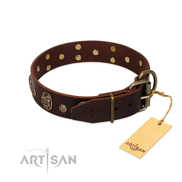 Reliable adornments on full grain genuine leather dog collar for your four-legged friend