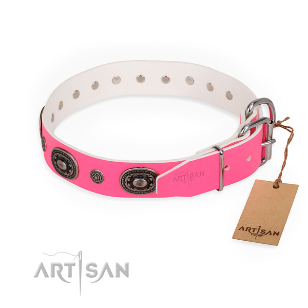 Comfortable wearing top quality dog collar with rust resistant buckle