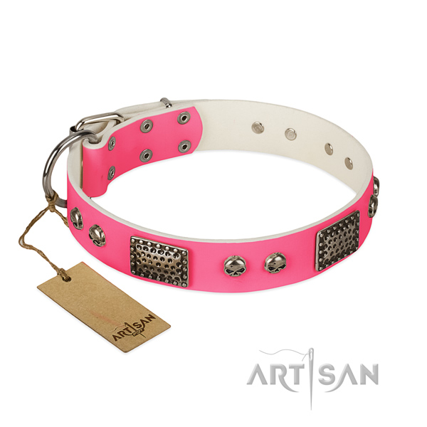 Easy to adjust natural leather dog collar for basic training your doggie