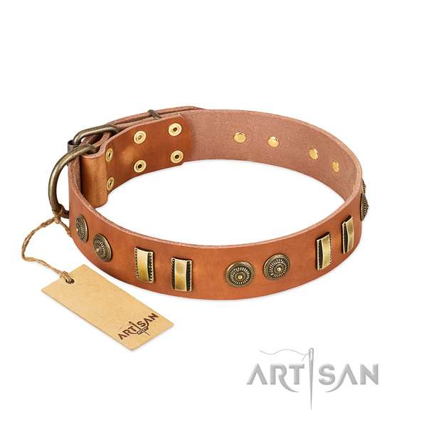 Durable fittings on natural leather dog collar for your doggie