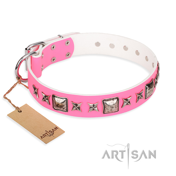 Leather dog collar made of flexible material with durable buckle