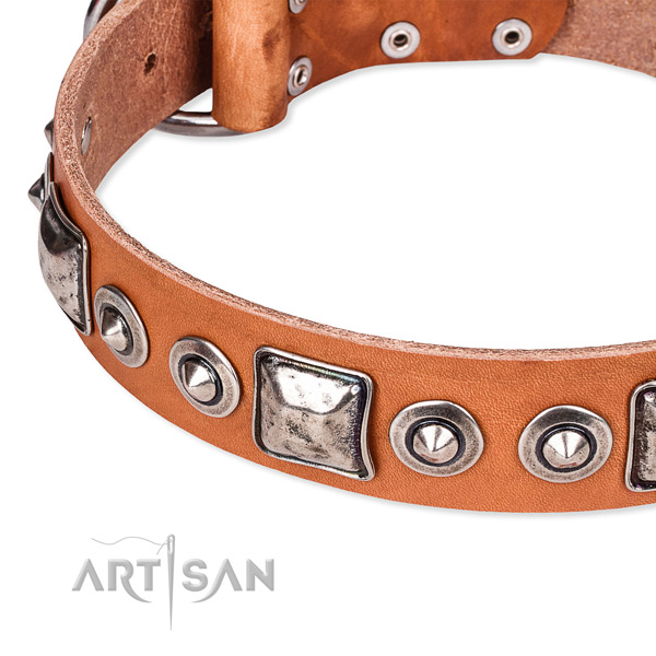 Flexible full grain natural leather dog collar handcrafted for your impressive doggie