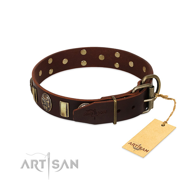 Full grain genuine leather dog collar with rust-proof D-ring and studs