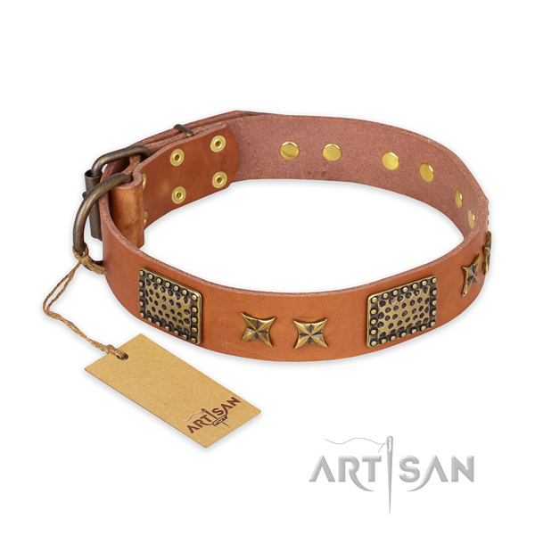 Handmade full grain genuine leather dog collar with strong traditional buckle