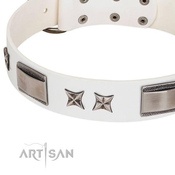 Gentle to touch full grain leather dog collar with corrosion proof buckle