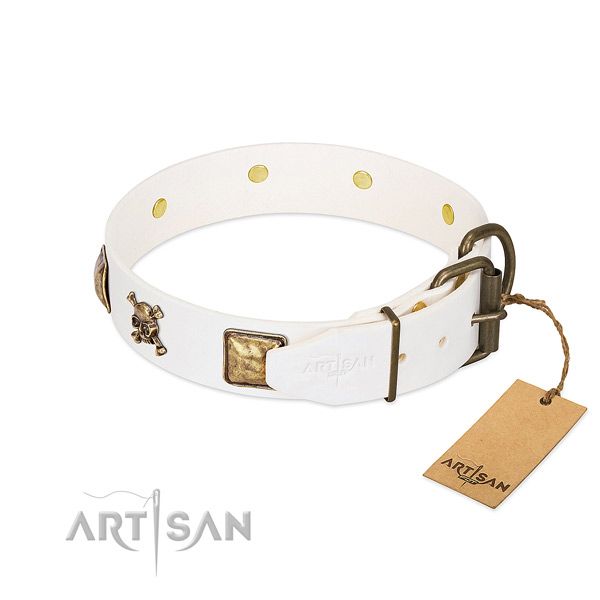 Awesome full grain leather dog collar with reliable embellishments