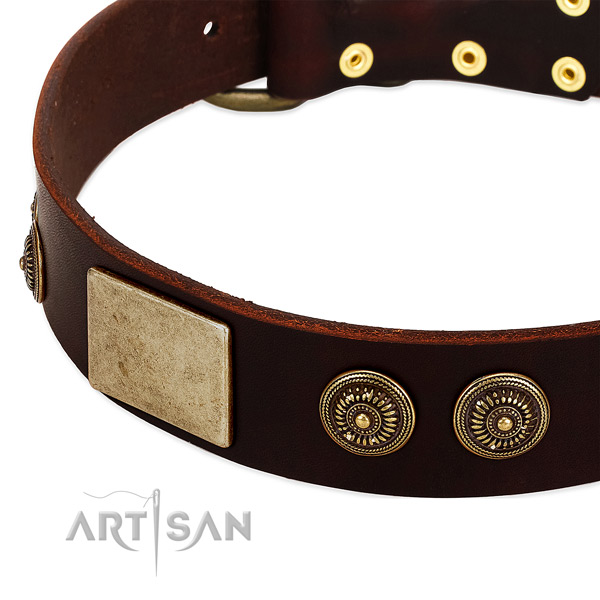 Strong D-ring on full grain natural leather dog collar for your dog