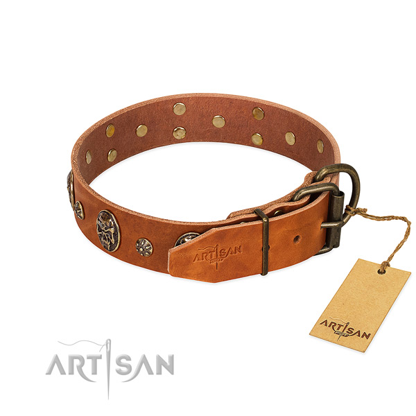Rust resistant buckle on full grain natural leather dog collar for your dog