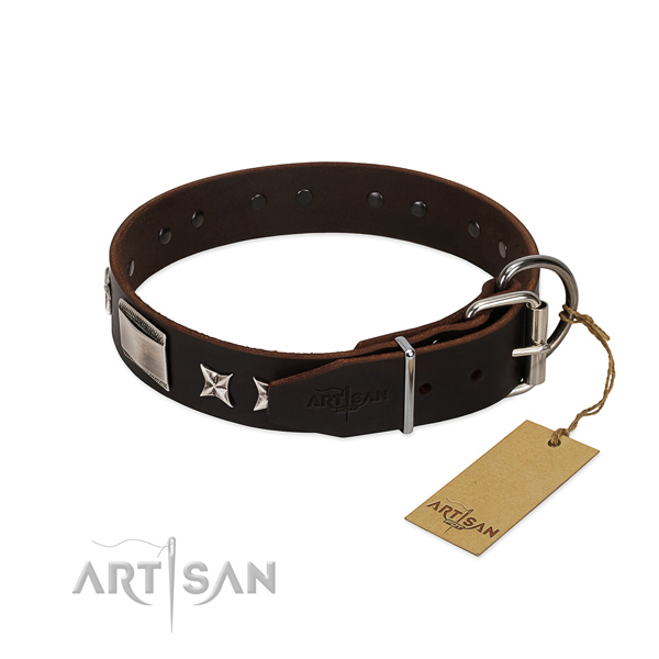 Top quality collar of full grain genuine leather for your attractive canine