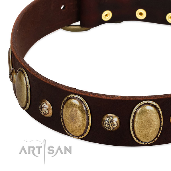 Full grain genuine leather dog collar with top notch decorations