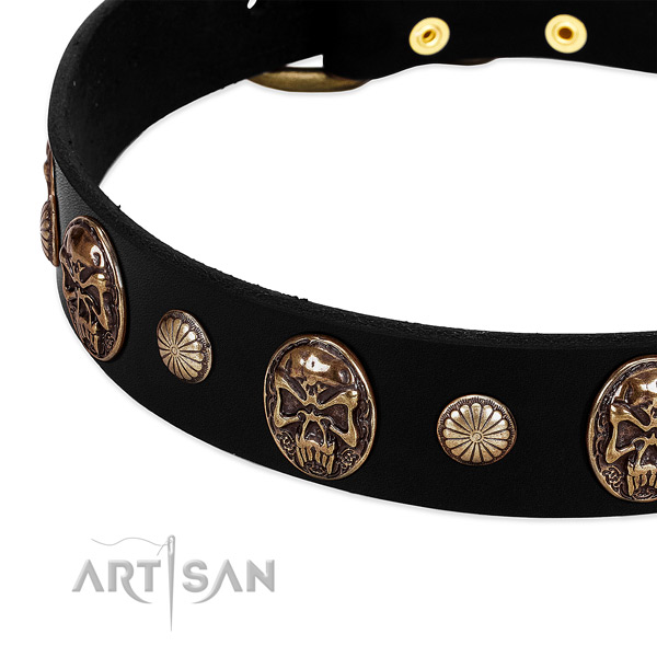 Full grain leather dog collar with inimitable embellishments