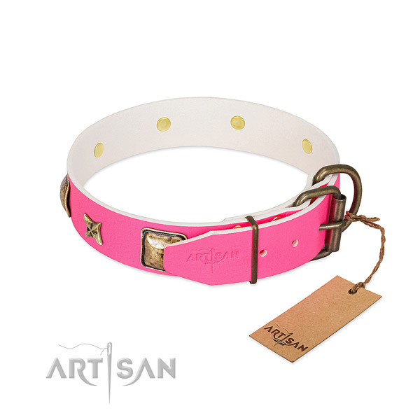 Reliable buckle on full grain genuine leather collar for daily walking your canine