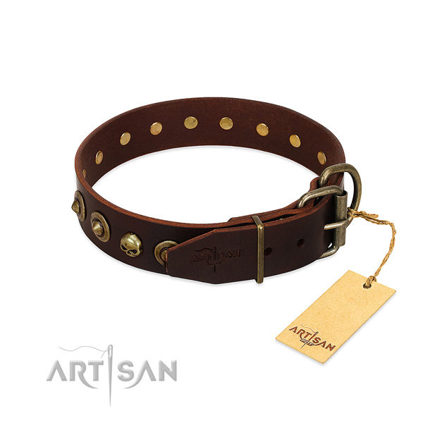 Full grain genuine leather collar with stylish embellishments for your pet