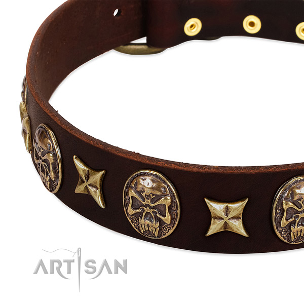 Rust-proof buckle on full grain natural leather dog collar for your doggie