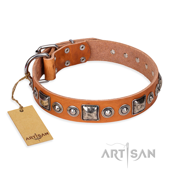 Leather dog collar made of flexible material with rust resistant D-ring