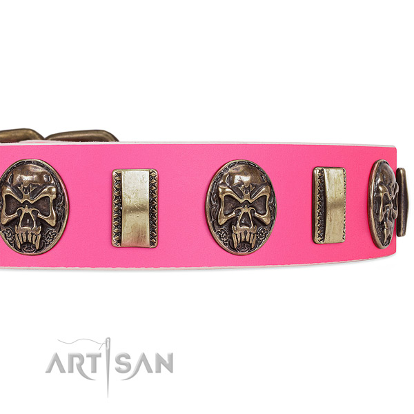 Rust-proof fittings on full grain genuine leather dog collar for your four-legged friend