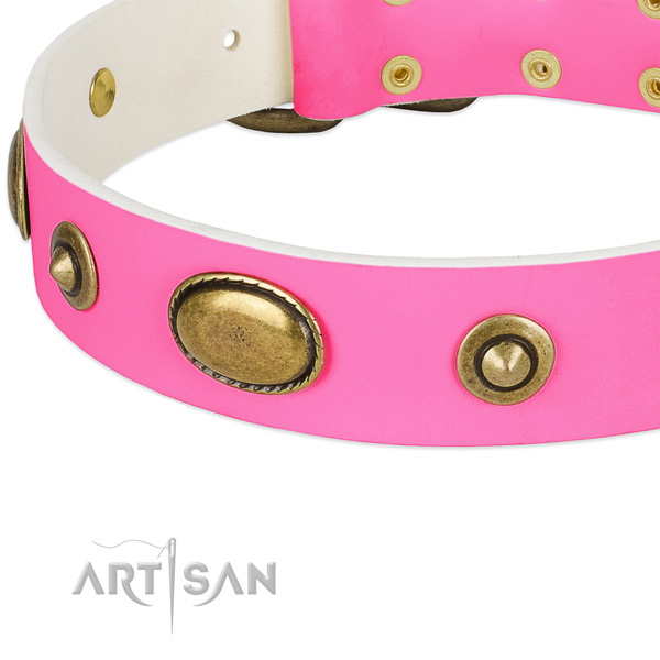 Rust resistant hardware on full grain leather dog collar for your canine