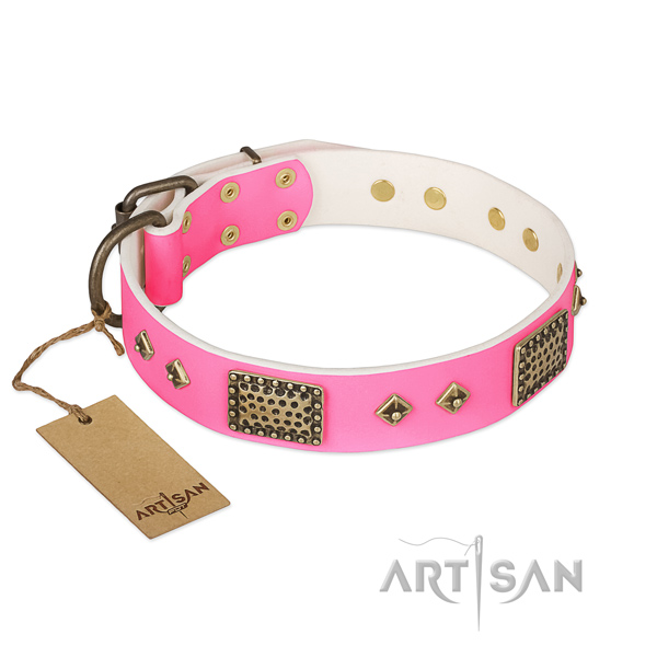 Easy adjustable full grain natural leather dog collar for stylish walking your pet