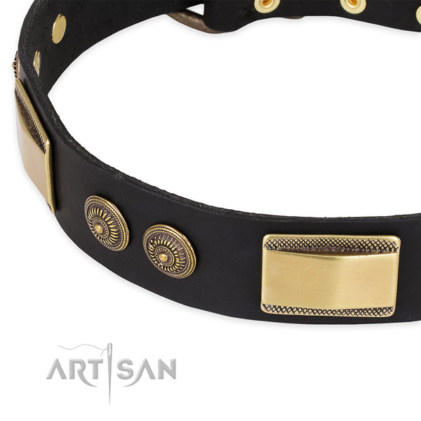 Comfortable full grain leather collar for your stylish four-legged friend
