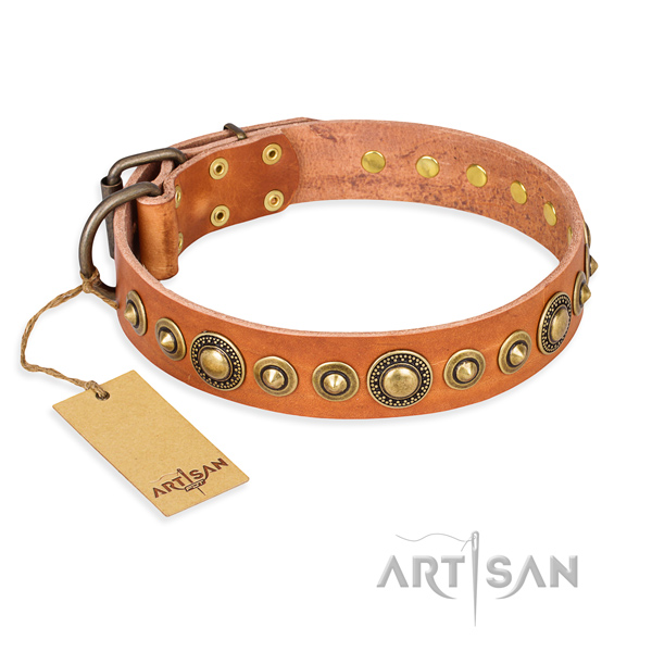 Reliable full grain natural leather collar made for your four-legged friend
