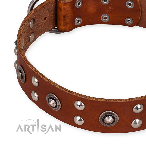 Full grain genuine leather collar with strong buckle for your attractive dog
