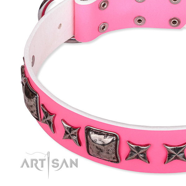 Stylish walking decorated dog collar of top quality full grain genuine leather